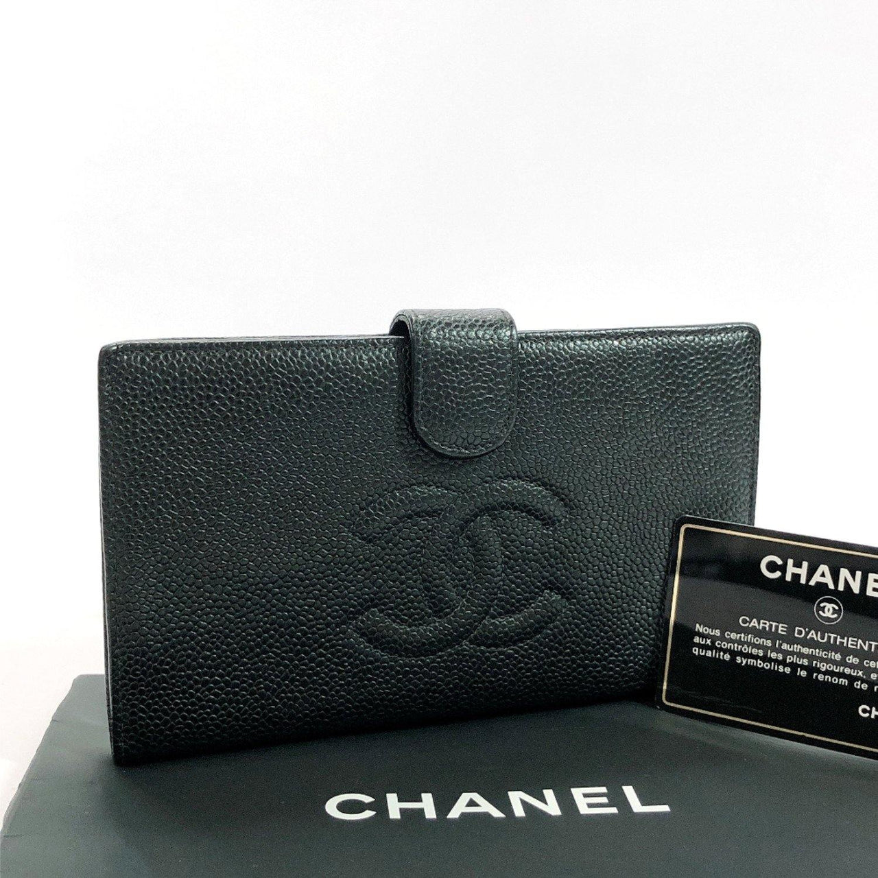 CHANEL purse COCO Mark purse with a clasp Matt caviar skin black Women Used - JP-BRANDS.com