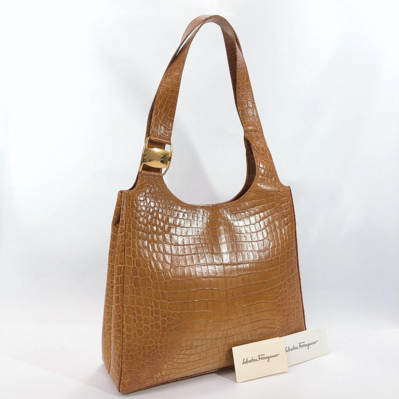 Salvatore Ferragamo Tote Bag BA-21 leather Brown Women Used - JP-BRANDS.com
