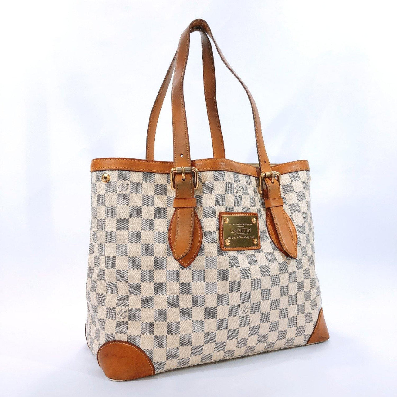 LOUIS VUITTON Tote Bag N51206 Hampstead MM Damier Azur Canvas white Women Used