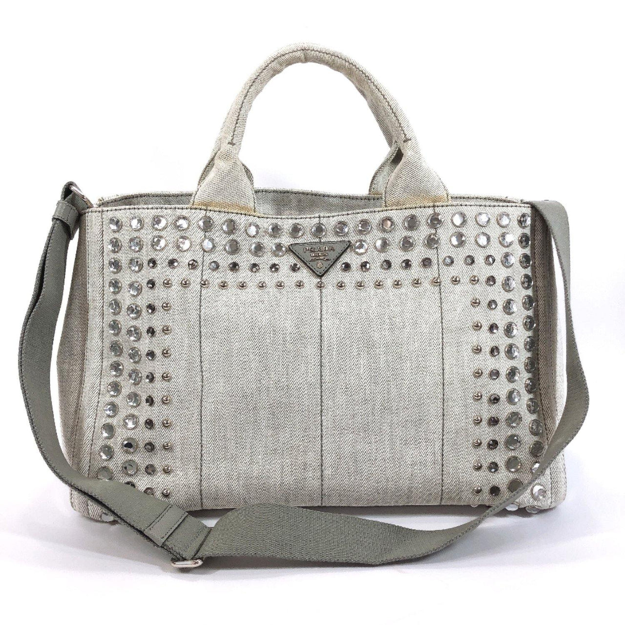PRADA Tote Bag B26420 Canapa Bijoux Cotton canvas gray Women Used - JP-BRANDS.com