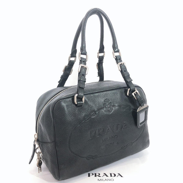 PRADA Handbag Mini Boston Big logo leather black Women Used