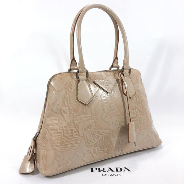 PRADA Handbag Embossing PVC beige Women Used
