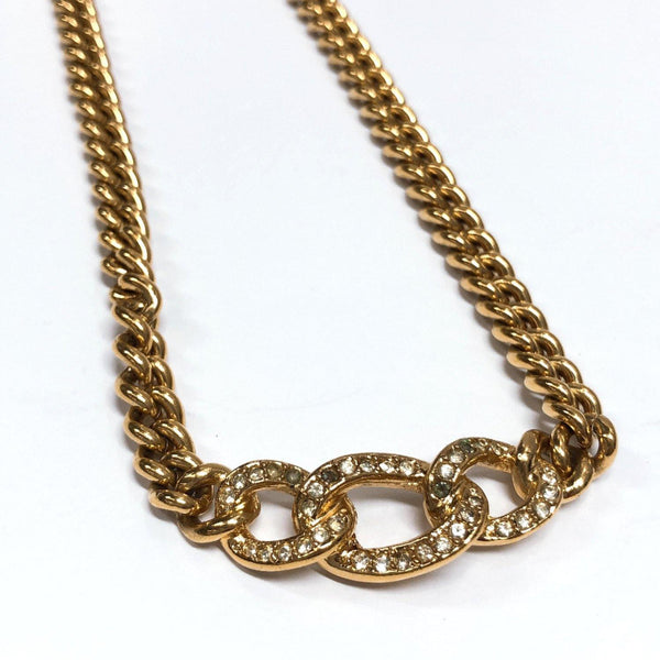 Christian Dior Necklace Rhinestone vintage metal gold Women Used - JP-BRANDS.com
