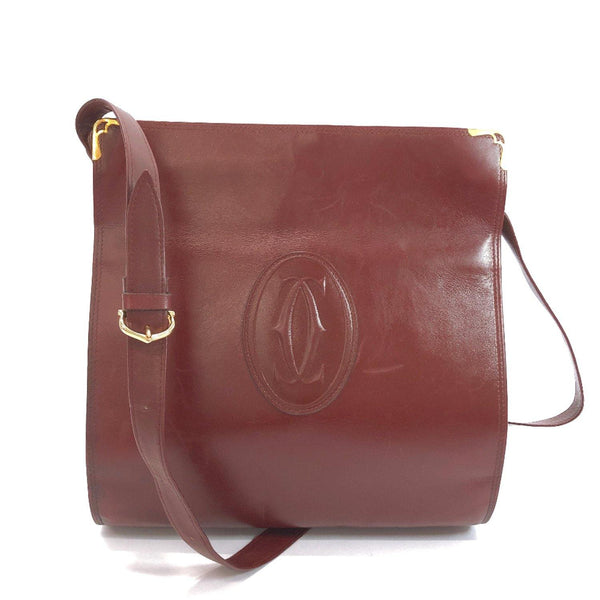 CARTIER Shoulder Bag Must Line leather wine-red Women Used