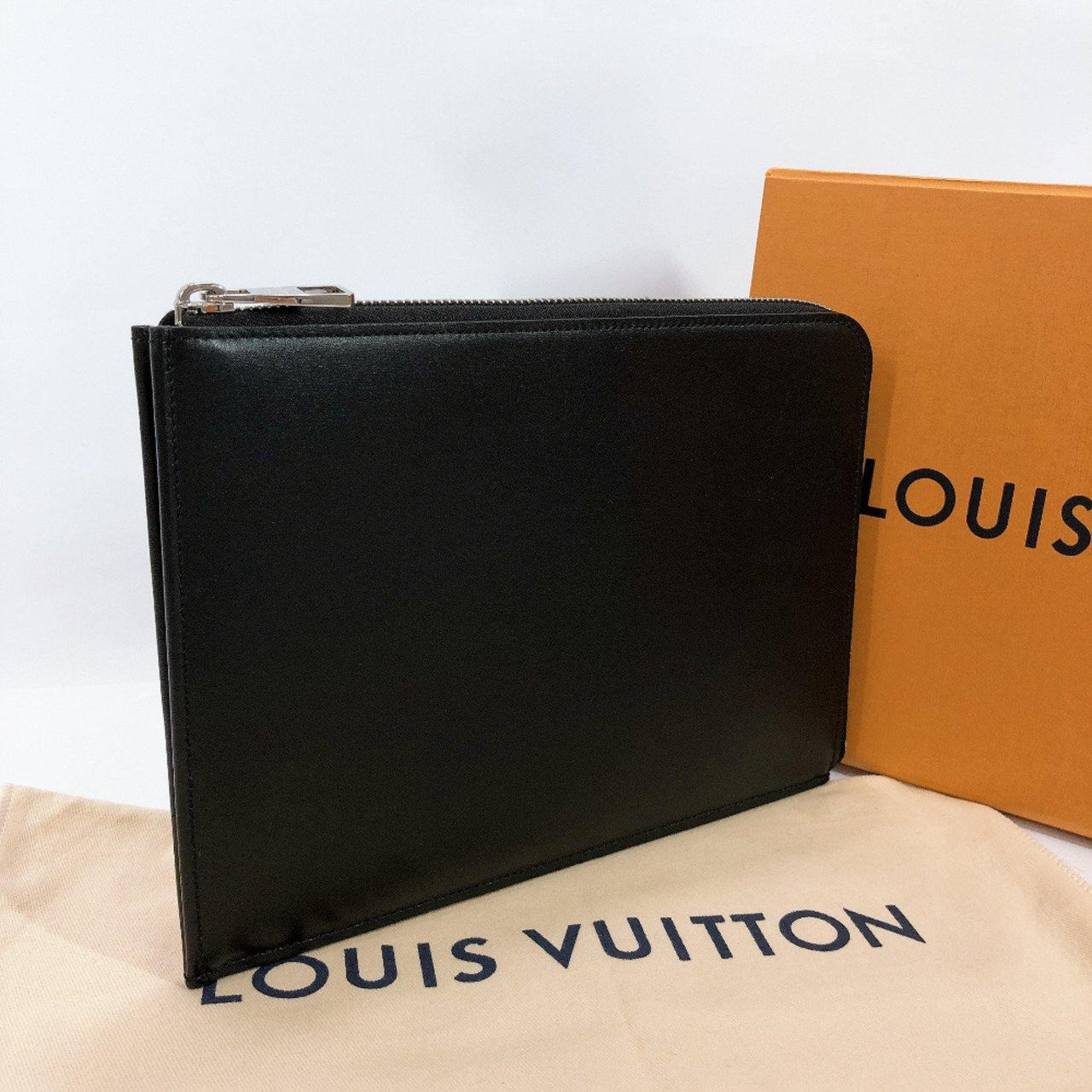 LOUIS VUITTON Clutch bag M58842 Nomad Pochette Jules PM leather black unisex Used - JP-BRANDS.com