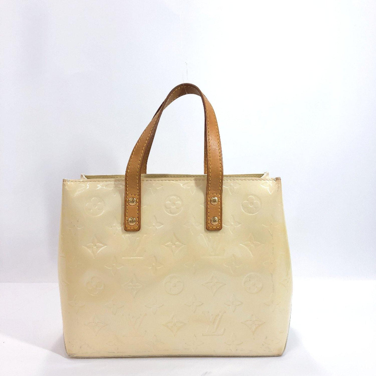 LOUIS VUITTON Handbag M91336 Lead PM Monogram Vernis/Leather white Women Used - JP-BRANDS.com