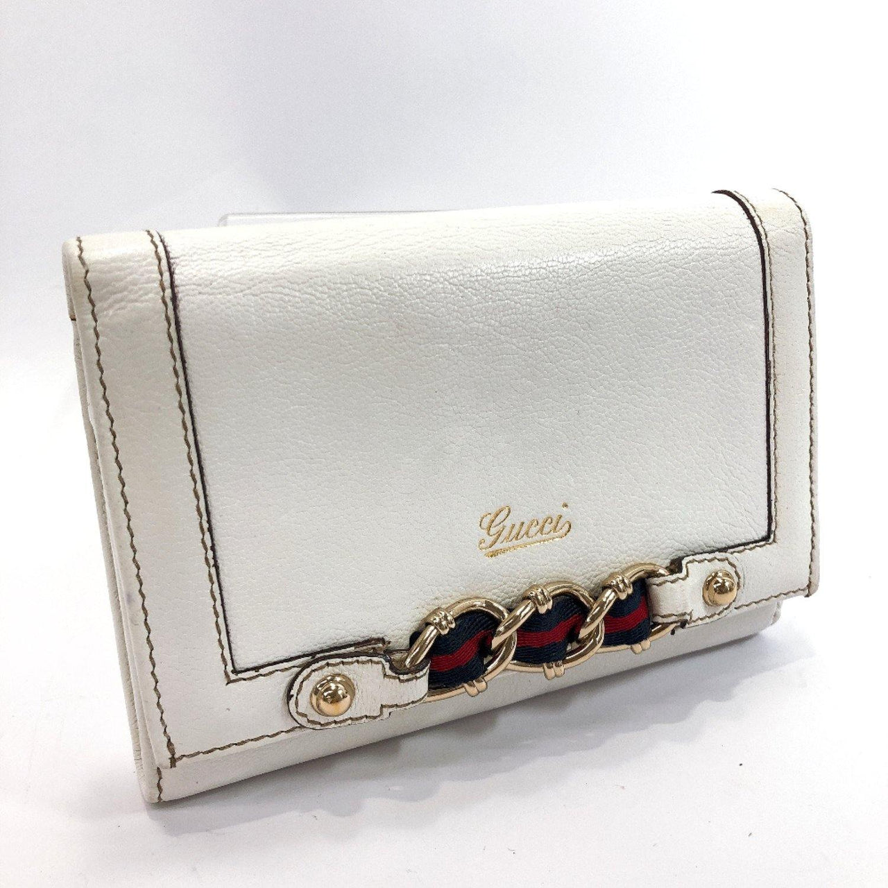 GUCCI wallet 155174・2067 Sherry line leather white Women Used - JP-BRANDS.com
