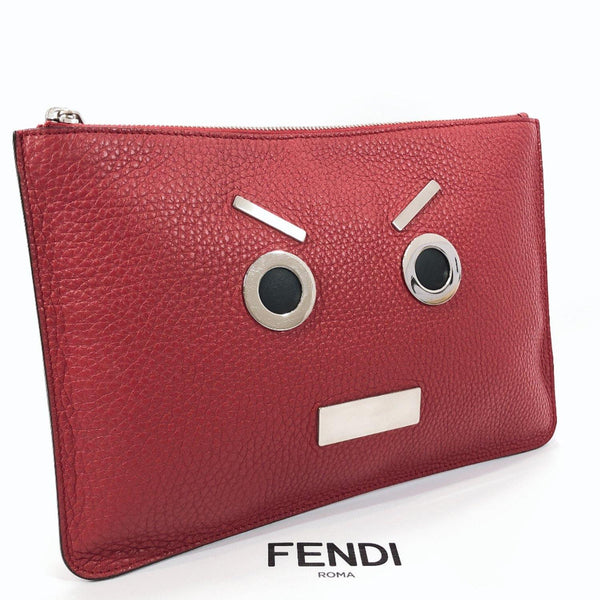 FENDI Clutch bag 7N0078 9QJ 169 3355 Monster face Calfskin Red unisex Used