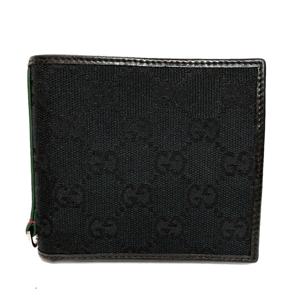 GUCCI wallet 131927 Sherry line GG canvas black mens Used