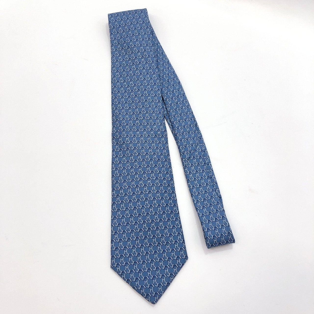 HERMES tie 5171 IA silk Navy Light blue mens Used - JP-BRANDS.com