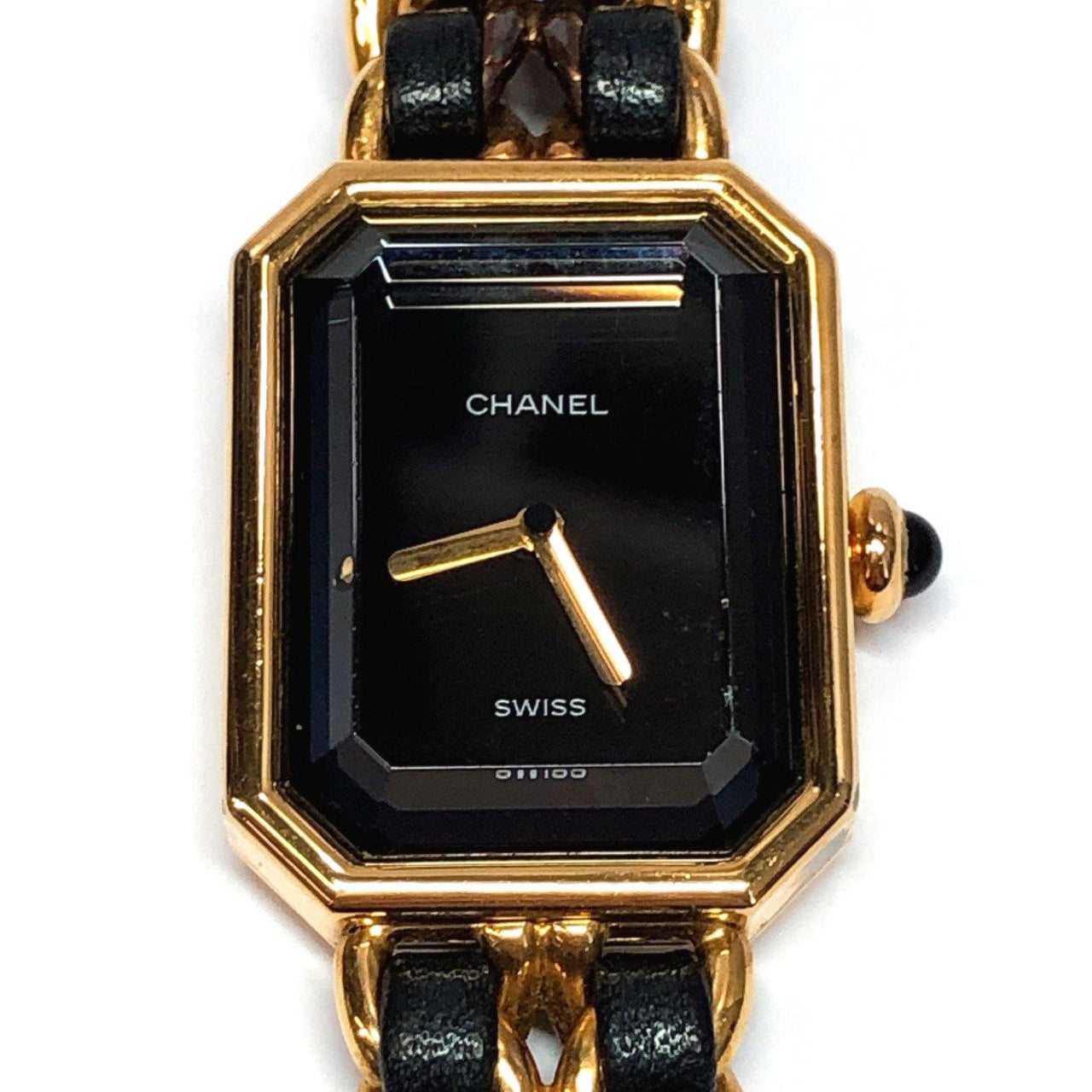 CHANEL Watches H0001 Premiere M vintage metal/leather gold black Women Used