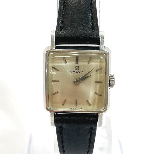 OMEGA Watches Cal244 Hand Winding vintage Stainless Steel/leather Silver black Women Used