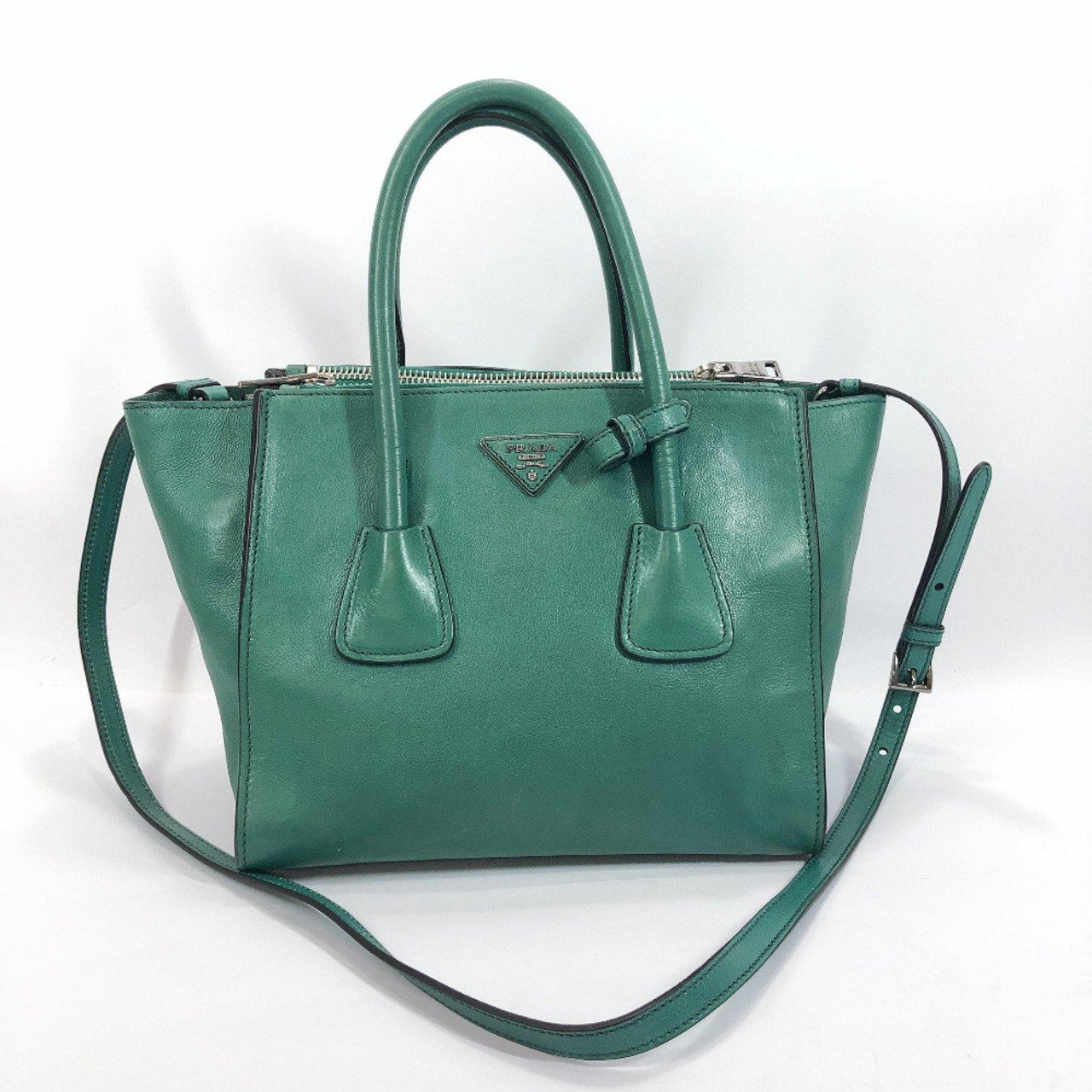 PRADA Handbag leather green Women Used