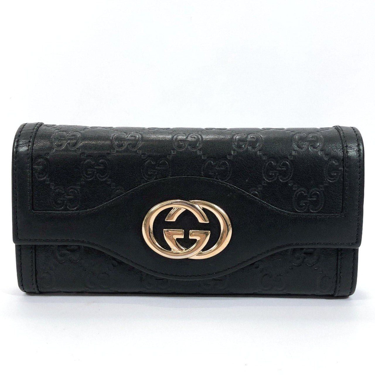 GUCCI purse 282431 Interlocking G Sima leather black Women Used - JP-BRANDS.com