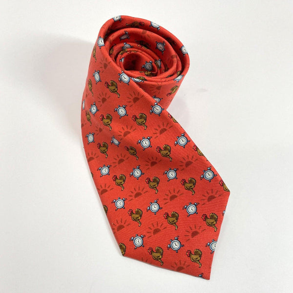 HERMES tie silk Red mens Used