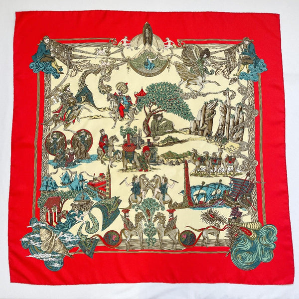 HERMES scarf Carre 90 As the silk thread goes Au FIL de la SOIE silk Red Women Used