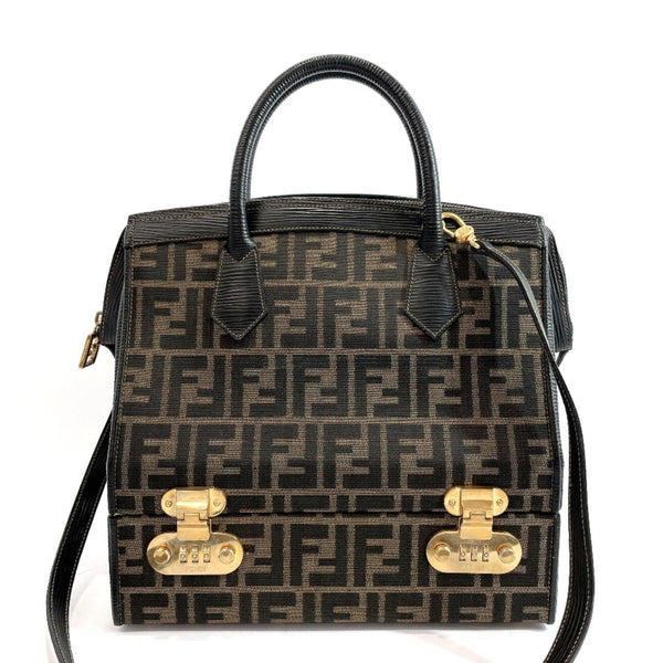 FENDI Handbag Zucca pattern vanity bag vintage canvas/leather/Gold Hardware Brown black Women Used