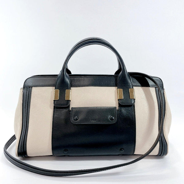 Chloe Handbag 3S0342-703 Alice 2way leather beige black Women Used