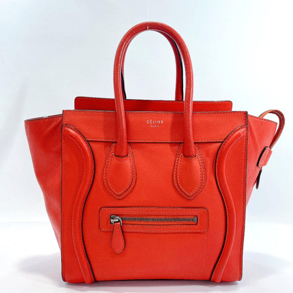 CELINE Handbag Luggage shopper micro leather Red Women Used