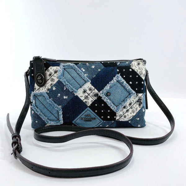 COACH Shoulder Bag 37790 patchwork W storage denim/leather Navy black Women Used
