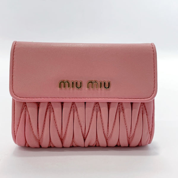 MIUMIU wallet 5ML002 Materasse leather pink Women Used
