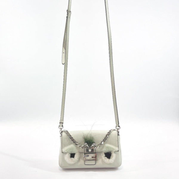 FENDI Shoulder Bag 8M0354 monster Micro bucket pouch leather white Women Used