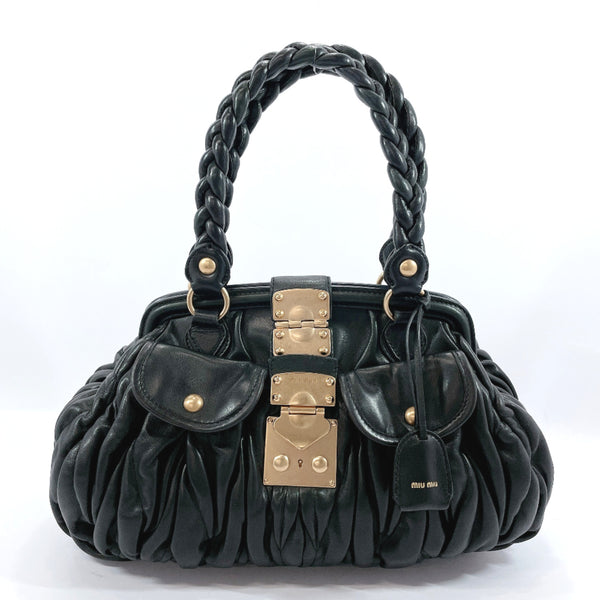 MIUMIU Handbag Materasse leather black Women Used