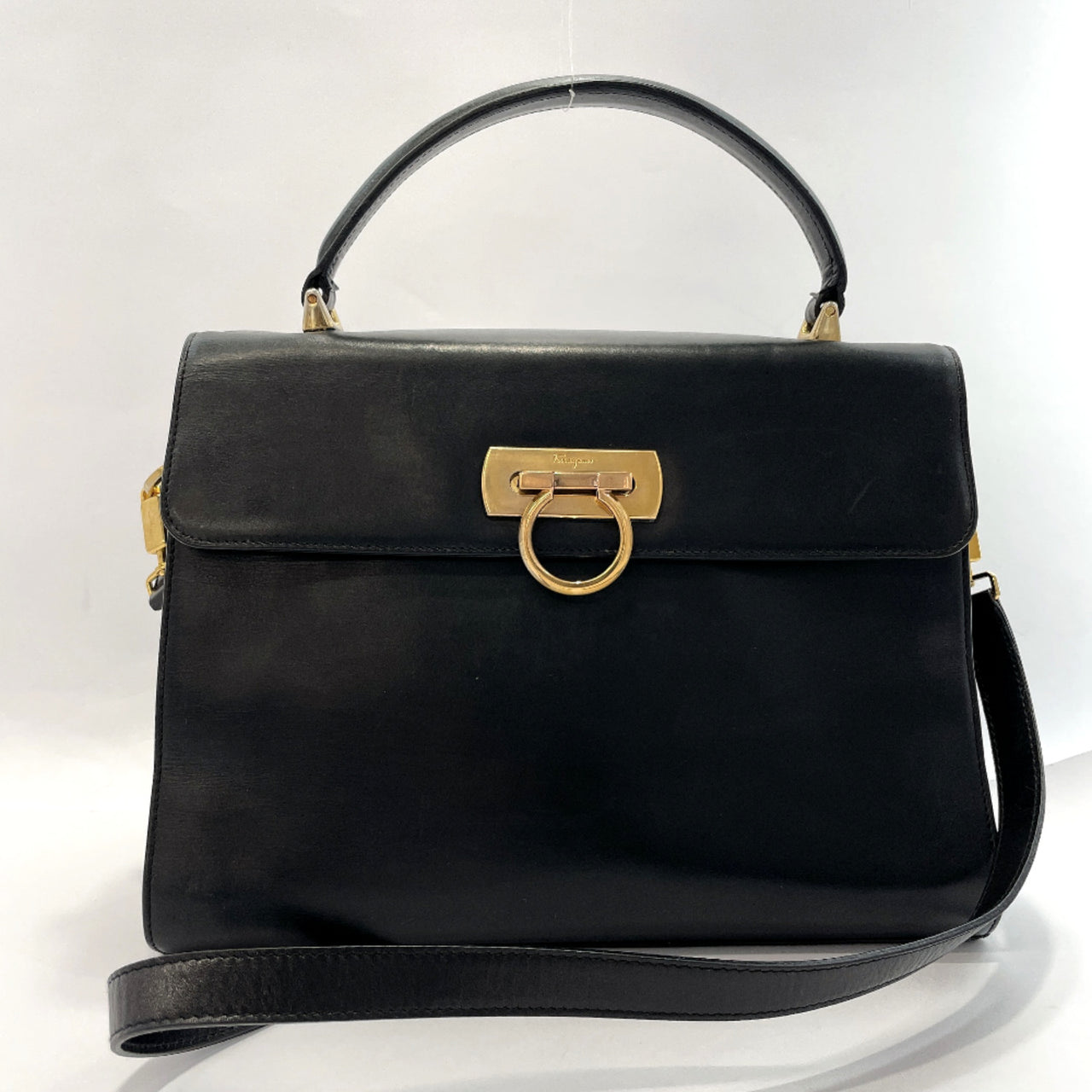 Salvatore Ferragamo Shoulder Bag O211654 Gancini 2way vintage leather black Women Used