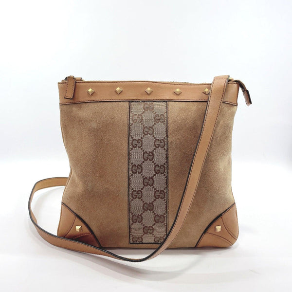 GUCCI Shoulder Bag 120893 Square type Studs Suede/GG canvas beige Women Used