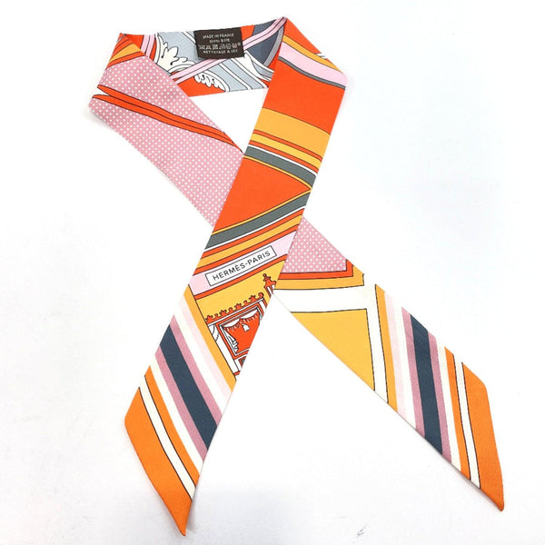 HERMES scarf Twilly silk Orange pink Women Used
