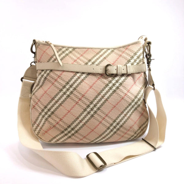 BURBERRY BLUE LABEL Shoulder Bag ブルーレーベル Tartan check canvas pink white Women Used
