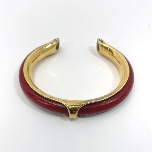 HERMES Bangle metal/leather wine-red gold Women Used