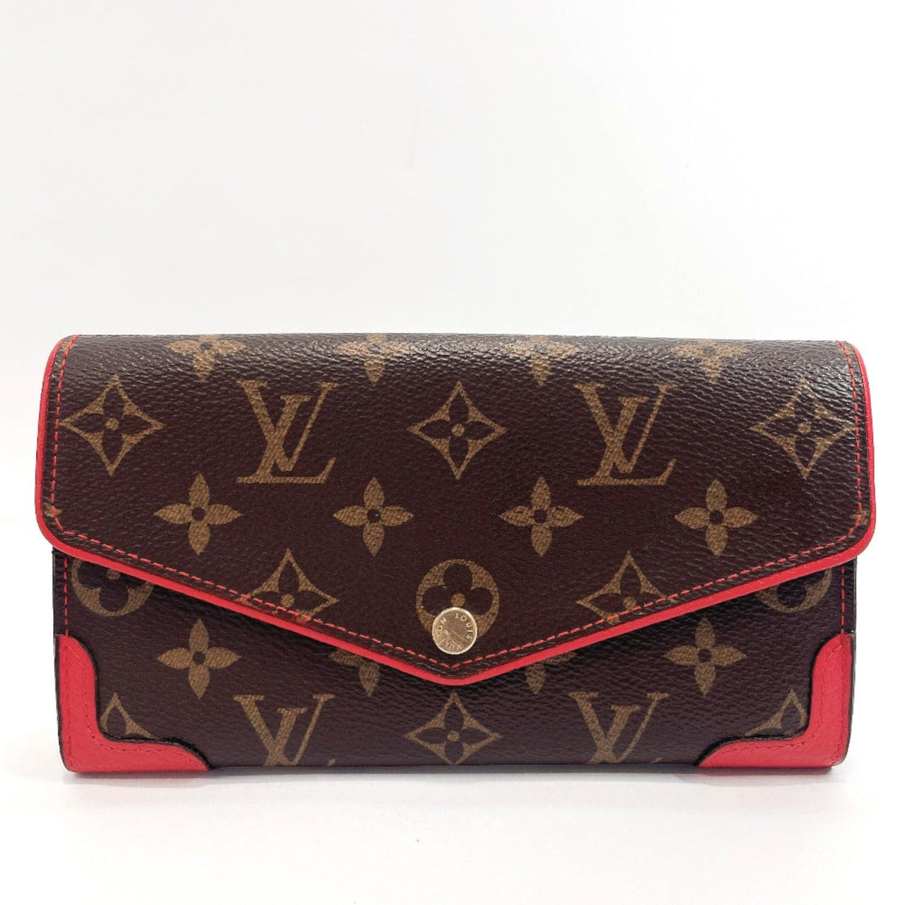 LOUIS VUITTON purse M61184 Portefeiulle Sara Retiro Monogram canvas Red Brown Women Used