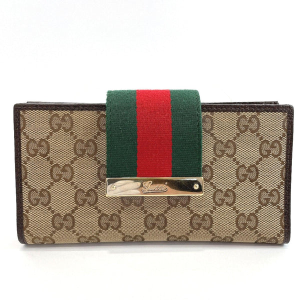 GUCCI purse 181668 Sherry line GG canvas Brown green Women Used