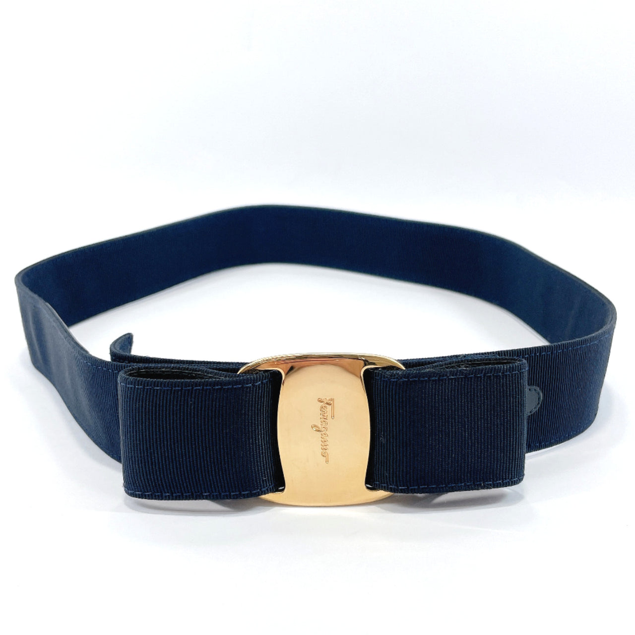 Salvatore Ferragamo belt Vala Rayon/cotton Navy gold Women Used
