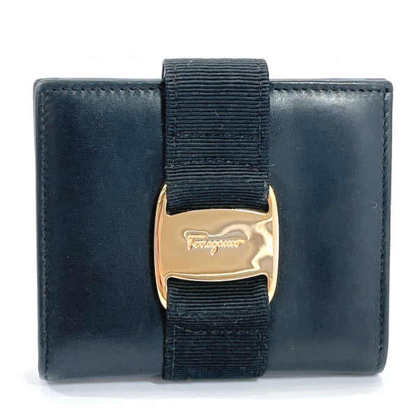 Salvatore Ferragamo wallet Vala leather black Gold Hardware Women Used