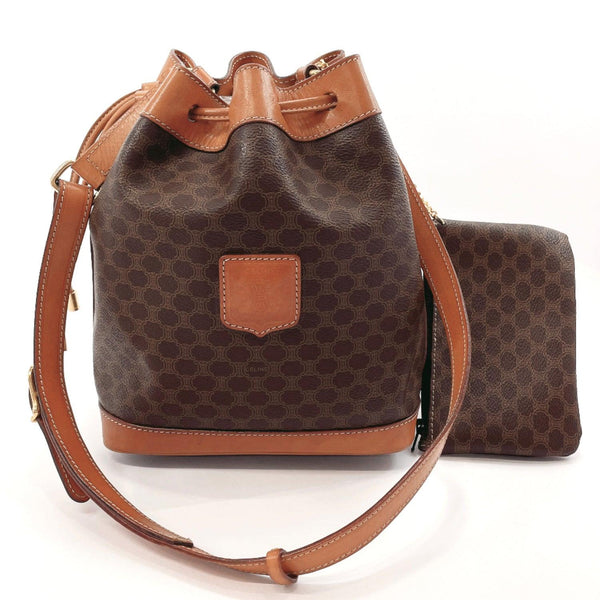 CELINE Shoulder Bag M14 Macadam vintage PVC Brown Women Used