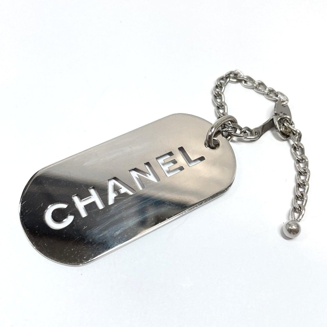 CHANEL key ring 04V Bag charm Dog tag metal Silver Women Used