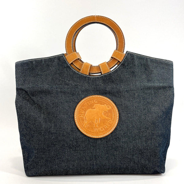 HUNTING WORLD Tote Bag denim/leather Navy Brown Women Used