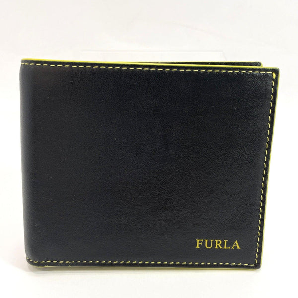 Furla wallet 901998 leather Black / yellow ONYX+LIMONE C mens Used