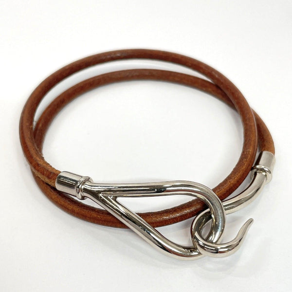 HERMES choker Necklace jumbo leather Brown Silver Women Used