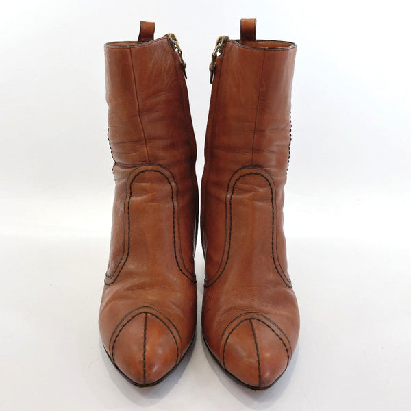 LOUIS VUITTON boots short boots leather Brown Women Used