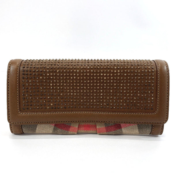 BURBERRY purse Vintage check canvas/leather Brown Women Used