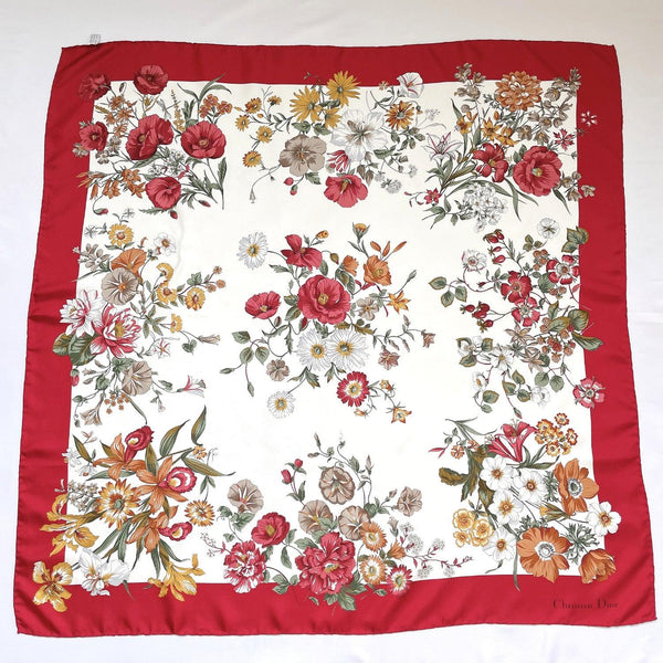 Christian Dior scarf silk wine-red white Women Used