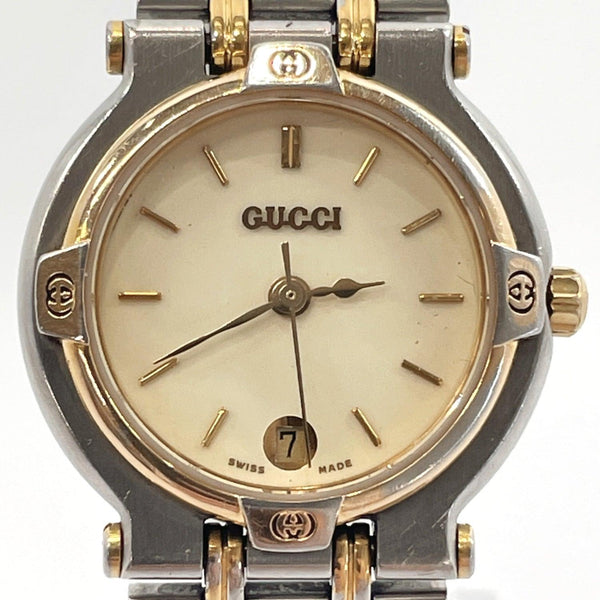 GUCCI Watches 9000L Quartz vintage Stainless Steel gold Silver Women Used