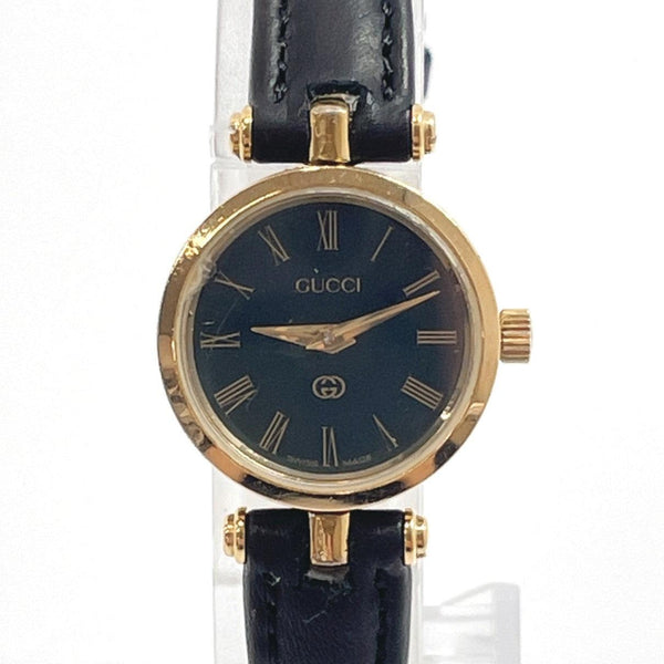 GUCCI Watches Quartz vintage Sherry line Stainless Steel/leather gold black Women Used