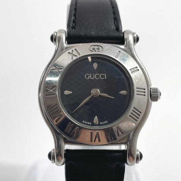 GUCCI Watches 6500L Quartz vintage Stainless Steel/leather Silver black Women Used
