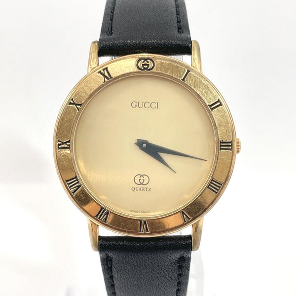 GUCCI Watches 3001M Quartz vintage Stainless Steel/leather gold mens Used