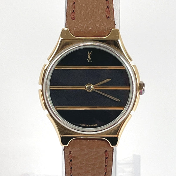 YVES SAINT LAURENT Watches quartz vintage Stainless Steel gold black Women Used