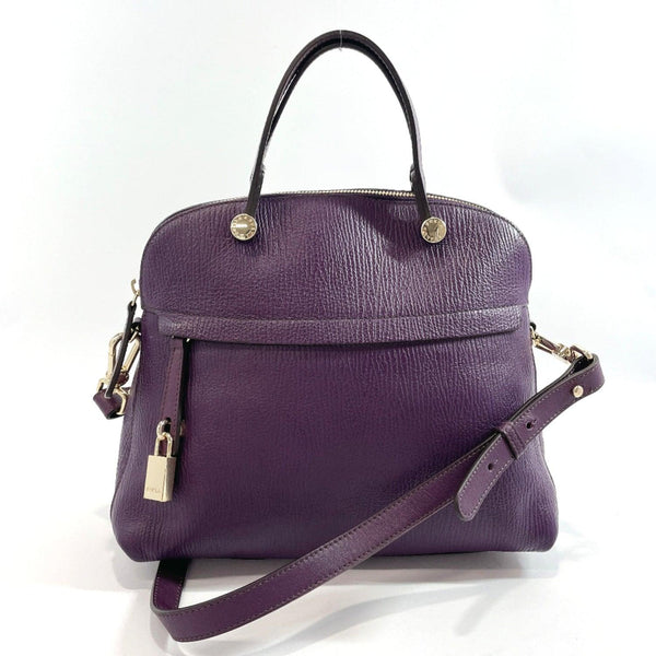 Furla Handbag Piper 2way leather/Gold Hardware purple Women Used